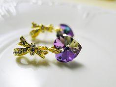 Purple Heart Earrings 繽粉多彩‧蝴蝶結 綴 愛心 七彩紫鑽耳環