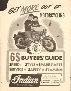 1955 Indian 11'' x 14'' Matted Vintage Motorcycle Print Ad Art Poster