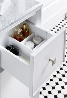 Get your bathroom toiletries in order with built in storage tailored to your organization needs! Martha Stewart Living Bath Vanities are available exclusively at @homedepot.