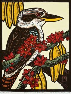 Kookaburra and Currajong by Leslie Vander Sluys Australian Birds, Australian Artists, Woodcut Art, Historia Natural, Bird Quilt, Indigenous Art, Bird Drawings, Aboriginal Art, Bird Prints