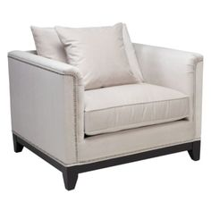 Pauline Chair | Chairs | Living-room | Furniture | Z Gallerie---use with blue couch. Blue couch pillow on white chair. White & blue curtains behind, chrome accent table in middle.