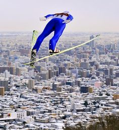 Daiki Ito of Japan soars over Sapporo en route to winning a World Cup Ski Jumping Large Hill competition. (Kimimase Mayama/EPA) GALLERY: Leading Off - Pictures of the Week Wigan Athletic, Athletic Men, Sport Photography, Video Photography, World Cup Skiing, Eddie The Eagle, Ski Jumping, Go Pack Go, Sapporo