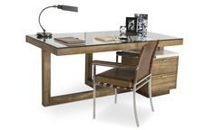 Stylish teak desk with glass tabletop #furniture #industrial #style #cocorepublic