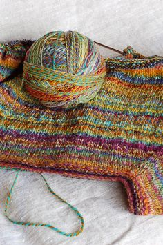 Top-Down Raglan-Sleeved Cardigan with Handspun Yarn. Patchwork Cardigan | by helloyarn