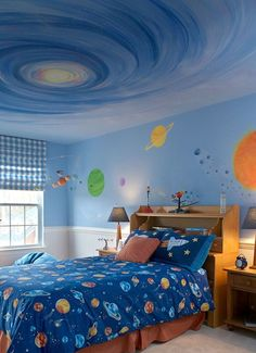 Fun Kid's Space Themed Bedroom Design Ideas. Find and save ideas about Space theme bedroom in this article. Chambre Nolan, Science Bedroom, Science Boys Room, Outer Space Bedroom, Sofa Lounge, Galaxy Bedroom, Home Decor Bedroom, Bedroom Ideas, Budget Bedroom