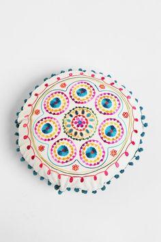 Samsara Round Embroidered Pillow