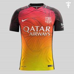 Barcelona Nike Third Kit Concept by FootballFactory - Footy Headlines Real Soccer, Soccer Fans, Football Uniforms, Football Kits, Football Jerseys, Barcelona Third Kit, Rugby Jersey Design, Camisa Barcelona, Fantasy Soccer