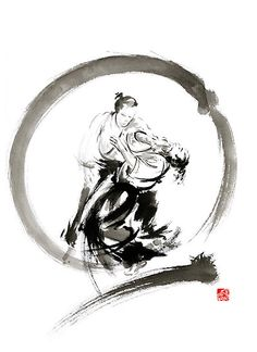 Aikido enso circle martial arts sumi-e samurai ink painting artwork