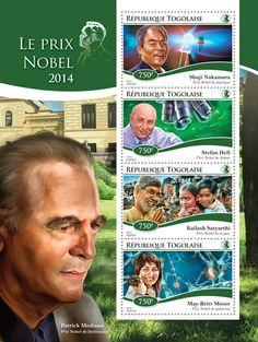 Post stamp Togo TG 14717 aThe Nobel Prize of 2014 (Shuji Nakamura, {...}, May-Britt Moser)