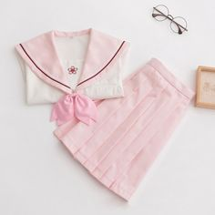 A kawaii spring, sakura themed school uniform in pastel pink. Perfect for super girly and cute outfits in the summer. Comes with top, necktie and skirt. Cheap School Uniforms, School Uniform Skirts, Japanese School Uniform, Skirt And Top Set, Skirt Set, Dress Outfits, Cute Outfits, Preppy Style, Pastel Pink