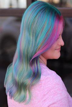 So magical and pretty hair color ideas 2019 jazlyn in Unique Hairstyles, Messy Hairstyles, Pretty Hairstyles, Pretty Hair Color, Latest Hair Color, Beauty Salon Design, Hair Highlights, Hair Hacks