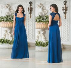 Cheap Bridesmaid Dresses Lace Blue Cap Sleeve Chiffon Plus Size Floor Length Long Bridesmaid Dresses Empire Maternal Occasion Dresses from Weddingmuse,$84.04 | DHgate.com