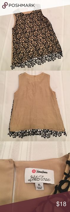 """Lela Rose for Target Blouse EUC- only worn a few times. This is from Lela Rose collection at Target. Back button closure, 75% Cotton, 25 % Silk. Lace overlay measures approx 25"""" from back neckline. Lela Rose Tops Blouses"""