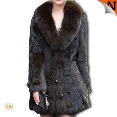 Quality Rabbit Fur Jacket Coats With Fox Fur Collar