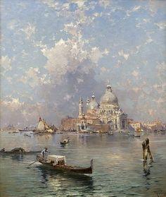 Franz Richard Unterberger, Gondolas in front of Santa Maria della Salute, Venice