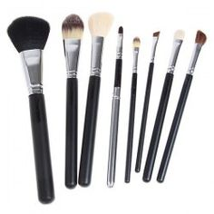 $9.10 8PCS Professional Cosmetic Tool Wool Brushes with Zipper Leather Bag - Black