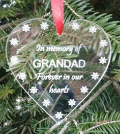 In Memory GRANDAD Memorial Heart Engraved Acrylic Christmas Tree Decoration | eBay