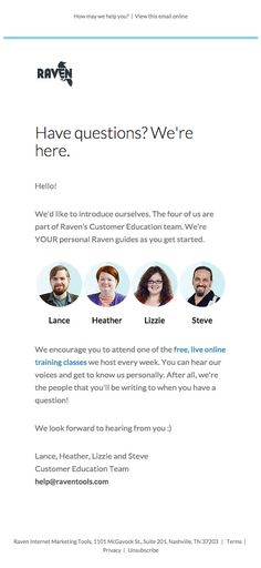 Transactional email from RAVEN - Meet Your Personal Guide Email Design Inspiration, Design Ideas, Edm Template, Welcome Emails, Email Newsletter Design, Good Communication, Email Marketing, Raven, Meet