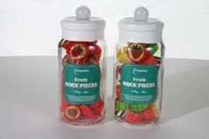 Jars of fruit rock sweets