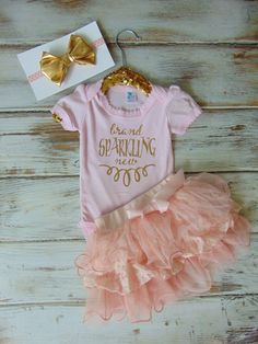 Brand Sparkling New Gold Glitter One Piece & Headband - NB Birth Announcement Shirt - Take Home Outfit - Baby Shower Gift - Pink Bodysuit