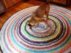 I am determined to make a rag rug - although it won't be this fancy. I found some no-sew instructions here: http://littlehouseinthesuburbs.com/2008/11/secrets-of-no-sew-rag-rug.html
