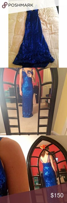 Faviana prom dress Royal blue Faviana all sequin dress, only been worn once. Size 6 but straps have been taken in/shortened. 100% polyester with mesh straps. In amazing condition!! Faviana Dresses Prom