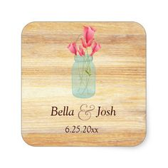 Rustic Mason Jar Peach Roses Wedding Sticker