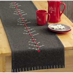 "Tag Chalet Tree Wool Felt Table Runner - 60"" 6082G - Save 36%"