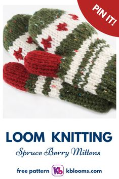 When the snow falls you'll be ready to play with super warm mittens. LOOM: 'Rotating' Double Knit Loom, set up … Loom Knitting Stitches, Loom Knitting Projects, Yarn Projects, Knitting Ideas, Crochet Projects, Fingerless Gloves Knitted, Knit Mittens, Loom Board, Loom Hats
