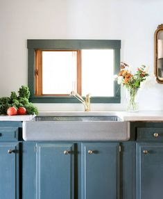 farmhouse sink, moody teal kitchen cabinets