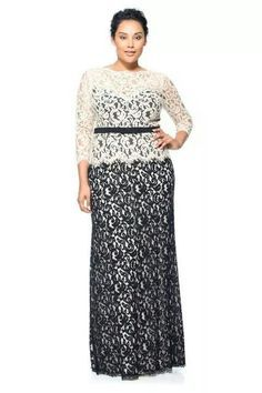 Tadashi Shoji Lace Boatneck ¾ Sleeve Gown with Grosgrain Ribbon Belt Vestidos Plus Size, Plus Size Gowns, Evening Dresses Plus Size, Plus Size Dresses, Dress Brukat, Boat Neck Dress, Brides Mom Dress, After 5 Dresses, Lace Skirt And Blouse