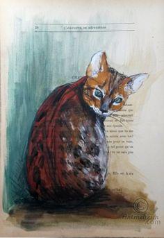 TWANNY - VENDU -SOLD - Peinture, 19x28,5 cm ©2015 par evafialka - Art figuratif, Papier, Animaux, Chats