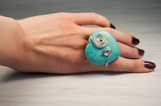 Turquoise Ring, Gem Ring, Solitaire Ring, Heart Shaped Ring, Silver Plated Ring, Wire Wrapped Ring, December Birthstone