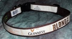 Adjustable Dog Collar from Recycled Guinness Blonde beer labels by squigglechick