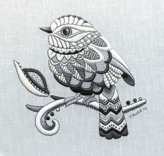 Zentangle Bird whitework embroidery stitched by Trish Burr