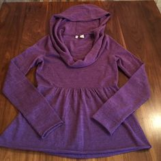 Anthropologie Moth Hooded Sweater Heather purple 100% merino wool sweater. Hooded with front cowl. Lighter purple than color in photo. Anthropologie Sweaters