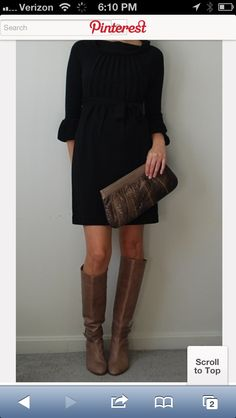 brown boots black leggings | thought I have a black dress and I have brown boots, I can make this ...