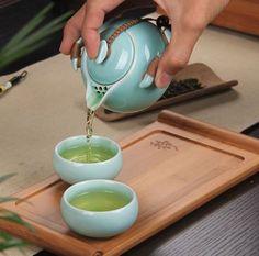 Celadon blue porcelain Chinese tea set 1 pot + 2 Cups + 1 wooden tray with… Chinese Tea Set, Japanese Tea Cups, Tea Tray, Tea Bowls, Celadon, Cafetiere, Pottery Teapots, My Cup Of Tea, Tea Accessories