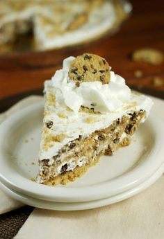 No-Bake Chocolate Chip Cookie Pie ~ four simple ingredients come together to create one delicious pie.