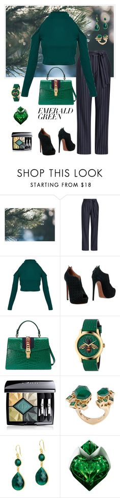 """""""Emeralds-A Girl's Best Friend😉☄💚"""" by parnett ❤ liked on Polyvore featuring Pottery Barn, Alaïa, Gucci, Christian Dior, Stephen Webster, Jemma Sands, Thierry Mugler and emeraldgreen"""