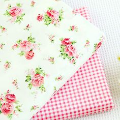 Floral Cotton Fabric, Red Rose Flower Pink Green Plaid Cotton Fabric For Cloth Bag Curtain Quiltting - 1/2 yard f214