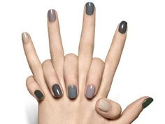 """If you're unfamiliar with nail trends and you hear the words """"coffin nails,"""" what comes to mind? It's not nails with coffins drawn on them. It's long nails with a square tip, and the look has. Gray Nails, Love Nails, How To Do Nails, Fun Nails, Pretty Nails, Neutral Nails, Neutral Colors, Gradient Nails, Rainbow Nails"""