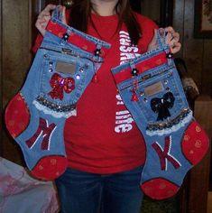 Denim Crafts to Make — Saved By Love Creations Jean Crafts, Denim Crafts, Christmas Stocking Pattern, Christmas Sewing, Homemade Christmas, Christmas Crafts, Denim Ideas, Xmas Stockings, Recycle Jeans