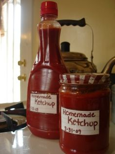 Homemade Ketchup 4 (6 oz) cans of tomato paste  2 cups water  3/4 cup vinegar  7 TBsp sugar  3 garlic cloves  4 tsp kosher salt  1 tsp onion powder  ~  I warmed the paste in a large saucepan, then you add the water a little at a time. Dump in the rest of the ingredients, and you've made BETTER-than-store bought Ketchup!!