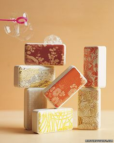 Japanese-Motif Soaps  Wow guests with soaps wrapped in patterned boxes made in a photo-editing program.