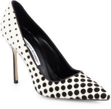 Manolo Blahnik Blacka nd white Polka Dot Calf Hair Pumps Evening shoes www.finditforweddings.com wedding shoes