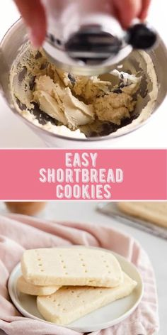 Easy Baking Recipes, Easy Cookie Recipes, Sweets Recipes, Simple Cookie Recipe, Easy Shortbread Cookie Recipe, Shortbread Recipes, Christmas Shortbread Cookies, Christmas Cookies, Easy Christmas Cookie Recipes