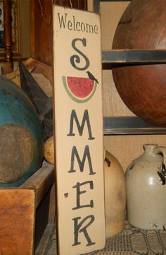 Items similar to Welcome Summer Watermelon Primitive block Sign on Etsy Pallet Crafts, Wooden Crafts, Pallet Projects, Pallet Ideas, 2x4 Crafts, Wood Ideas, Woodworking Projects, Painted Signs, Wooden Signs