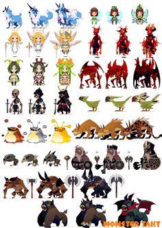 真ん中のデザインがノーマルでいいな。同じボーンでのデザインって難しくないですか?進化しないという選択は…。 Game Character Design, Character Design References, Character Design Inspiration, Character Concept, Character Art, Concept Art, Monster Design, Monster Art, Fantasy Artwork