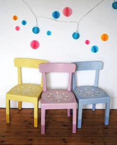 Pair of chairs in old violet and emile chalk paint tm by - Paint for childrens furniture ...